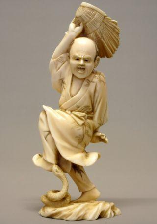 19th C Japanese Carved Faux Ivory Okimono Figure/statue - Snake Catcher photo