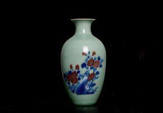 Exquisite Chinese Antique 19th C Celadon Porcelain Hand Painting Vase Tn12 photo