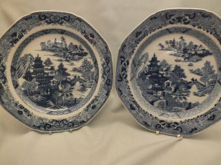 Pr Chinese Porcelain Blue & White Plates Decorated With A Landscape Scene 18thc photo
