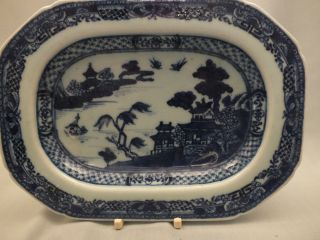 Chinese Porcelain Rectangular Blue/white Rectangular Dish Landscape Decor 18thc photo