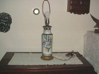 Antique Chinese Famille Rose Large Vase Lamp Guangxu Period photo