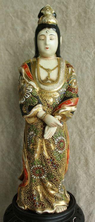 Antique Japanese Meiji Kutani Porcelain Kannon Buddha Figure Statue photo