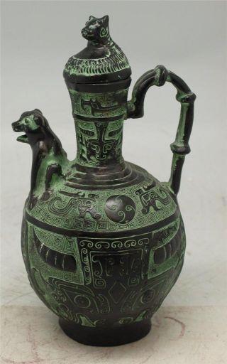 Chinese / Tibetan Verdigris Bronze Teapot - Mythical Creatures - Oriental photo