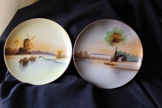 Set Of Two (2) Antique Hand - Painted Meito Scenic Porcelain Plates photo