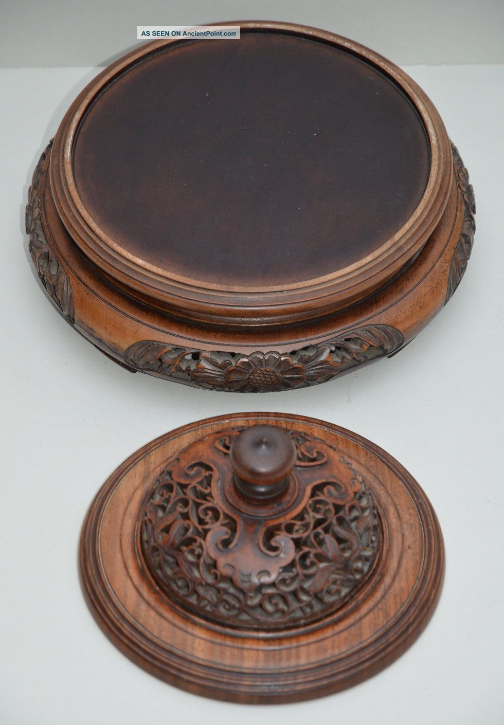 Fine Large C19 Chinese Qing Dynasty Huanghuali Wood Stand & Lid,  Circa 1880 Vases photo
