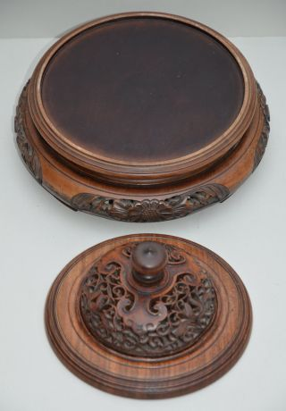 Fine Large C19 Chinese Qing Dynasty Huanghuali Wood Stand & Lid,  Circa 1880 photo