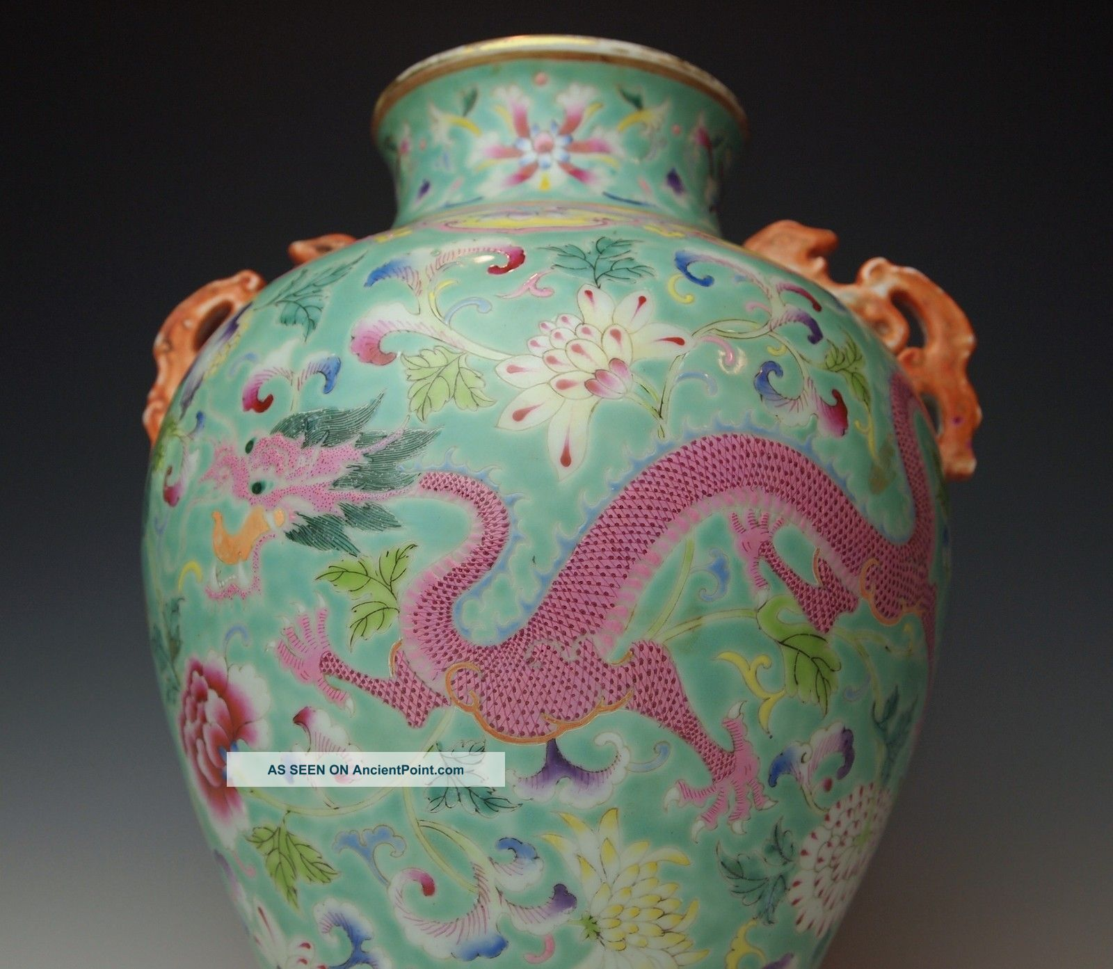 Exquisite Antique Chinese Porcelain Famille Rose Turquoise Vase Qing Dynasty Vases photo