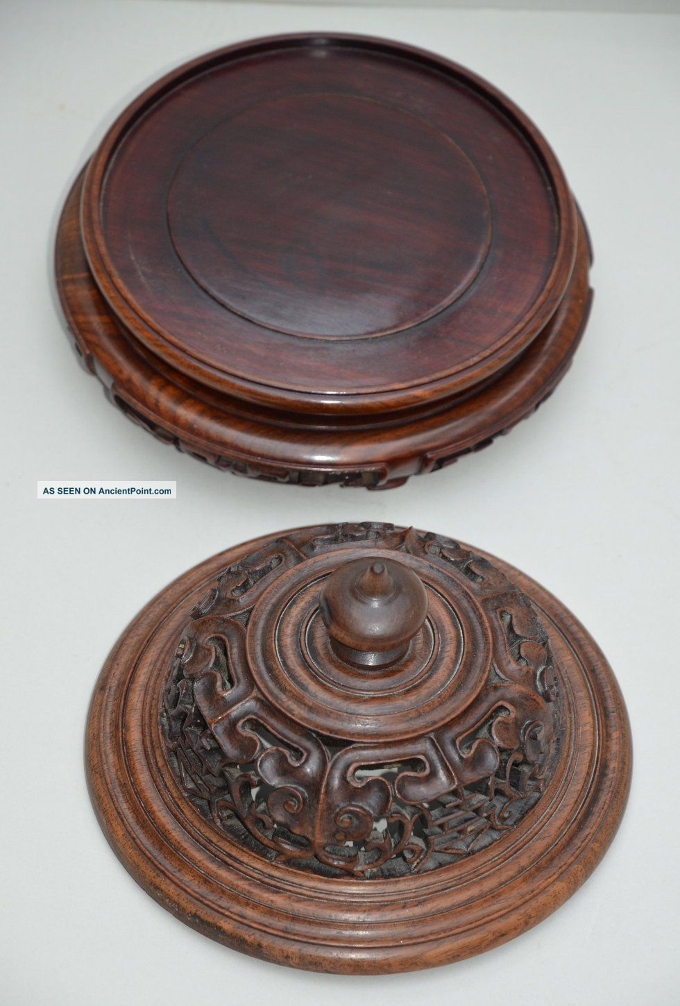 Fine C19 Chinese Qing Dynasty Huanghuali Wood Lid & Rosewood Stand Vases photo