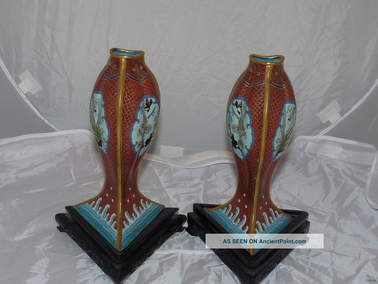 Rare Pair Antique Chinese Cloisonne Vase Fish Carp Custom Ebonized Stands Vases photo