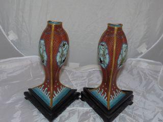 Rare Pair Antique Chinese Cloisonne Vase Fish Carp Custom Ebonized Stands photo