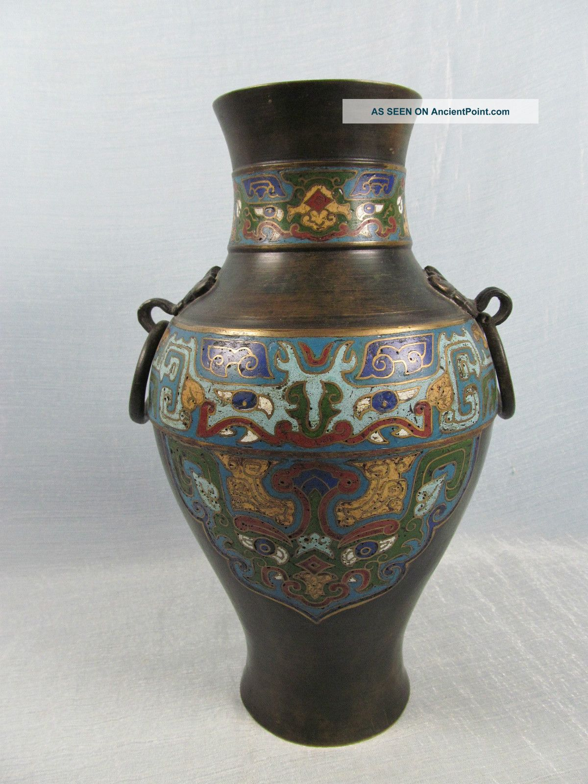 19thc Japanese Champleve Bronze Baluster Vase Ring Handles Vases photo