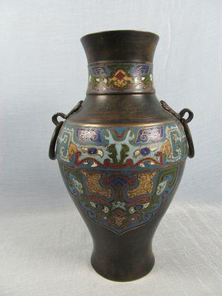 19thc Japanese Champleve Bronze Baluster Vase Ring Handles photo