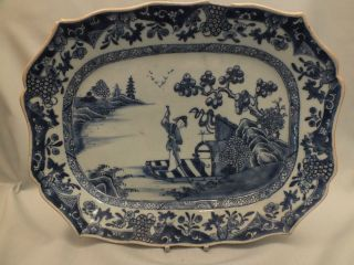 Chinese Porcelain Blue/white Meat Dish With Man & Dog In A Boat Decor 18thc photo