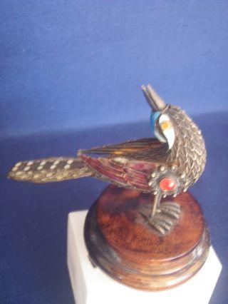 Antique Chinese Silver Enamel Filigree Bird Figurine W/ Gemstone & Pedestal photo