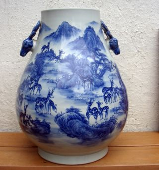 Antique Late Qing Dyn 19c Early 20c Chinese Asian Large Blue White Deer Va Se photo