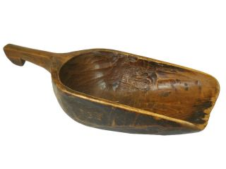 Chinese Antique Wooden Ladle/scoop,  One Piece Of Wood photo