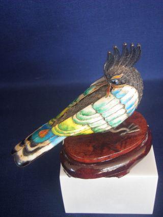 Antique Chinese Silver Enamel Filigree Bird Figurine Sapphire Eye Wood Pedestal photo
