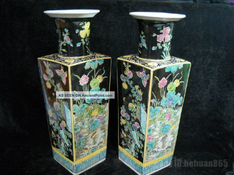 Fine Chinese Su San Cai Porcelain Vase Pair Vases photo