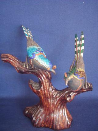 Antique Chinese Silver Enamel Filigree 2 Bird Large Figurine Coral Eye Pedestal photo