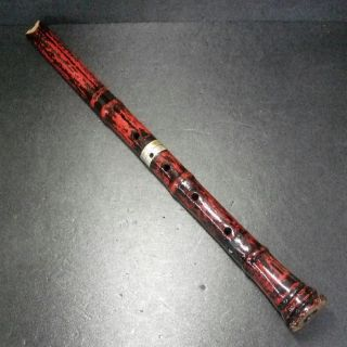 F143: Japanese Traditional Wind Instrument Made Of Bamboo Shakuhachi W/lacquer photo