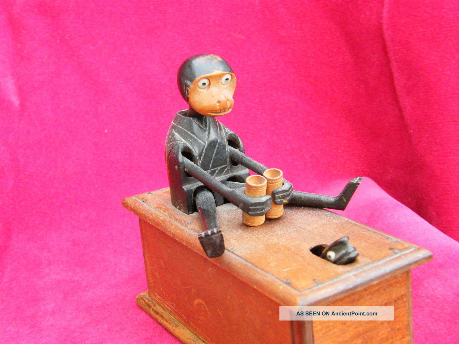 Japanese Wooden Kobe / Kobi Toy.  Monkey With Binoculars And Snake. Other photo