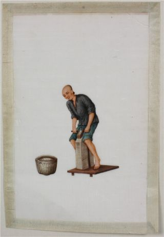 Chinese Rice Pith Paper Painting Of A Workman 19thc photo