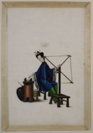 Fine Chinese Rice Pith Paper Painting Of A Lady Silk Worker 19thc photo