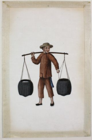 Chinese Rice Pith Paper Painting Of A Worker 19thc photo