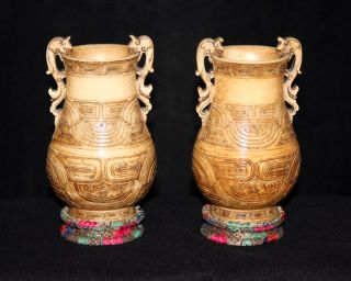 Pair Antique Japanese Carved Ox Bone Vases Signed Box photo