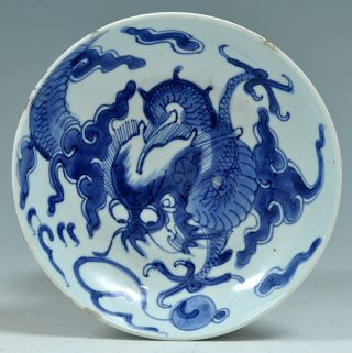 A Good Antique 18th C Chinese Porcelain Blue & White Export Plate Dragon Kangxi photo