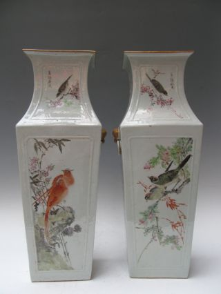 Fine A Pair Chinese Huge Famille Rose Porcelain Flowers & Birds Vases photo