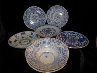 5 Antique Chinese Porcelain Blue And White Plates Kangxi Period + 2 Bonus photo