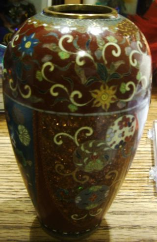 Antique 19th Century Chinese Cloisonne 4 Panel Goldstone Vase photo
