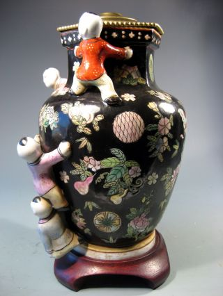 Maitlin Smith China Chinese Famille Noir Vase W/ Relief Children Decor 20th C. photo