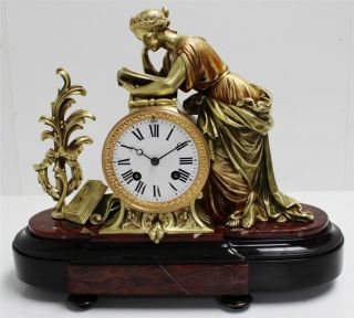 Rare C1860 French Solid Bronze & Marble Classical Figural Mantel Clock 200 photo