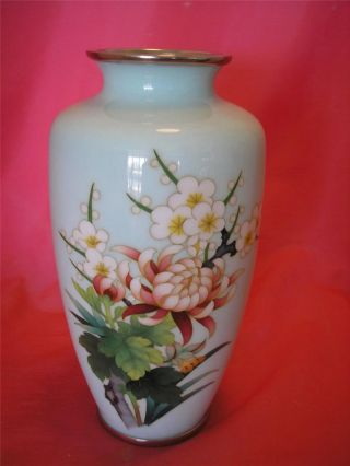 Vintage Japanese Signed Ando Cloisonne Enamel Vase Cherry Blossom Floral 9