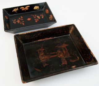 Antique 19th C Wooden Oriental Japanese Chinese Lacquered Dish Tray photo