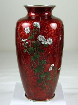 Japanese Akasuke Pigeon ' S Blood Cloisonne Foil Silver Mounts Signed Vase photo