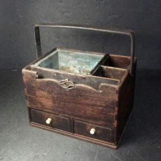 F141: Japanese Wooden Chest - Of - Drawers For Tobacco Made From Popular Karaki photo