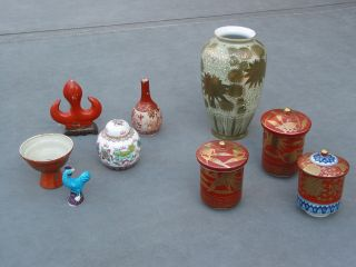 9 Porcelain Pieces Japanese And Chinese 19thc.  - 20thc Cup Bowl Tea Caddy Vase photo