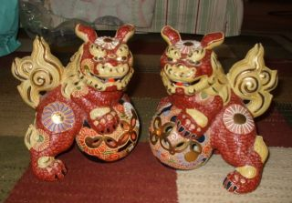 Pair Satsuma Moriage Chinese Export Foo Dogs Incised Mark photo