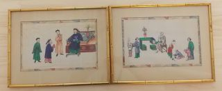 2 - 19th C.  Chinese Export Watercolor Painting On Rice Paper - Framed photo