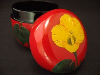 Japanese Antique Lacquer Wooden Tea Caddy Natsume Hibiscus Design Tea Container photo
