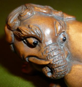 Boxwood Netsuke Recumbant Mythical Creature Elephant Lion Rare Item C20th photo