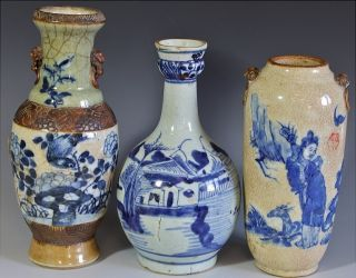 Estate Coll.  3 Chinese Qing Dynasty Blue White Figural Vases Jars Qianlong photo