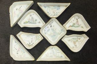 Group Of 9 Antique Chinese Nut Dish Hand Painted Famille Rose Figures Porcelain photo