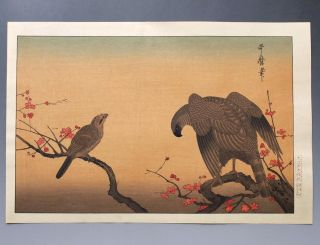 Utamaro Japanese Vintage Woodblock Print Falcon & Bull - Headed Shrike photo