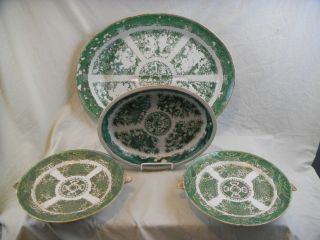 Antique 18thc Chinese Export Fitzhugh Meat Platter,  Warming Dishes,  Open Veggie photo