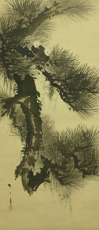 Jiku713 Jf Japan Scroll Pine Mifune Tsunate Tree & Bird photo