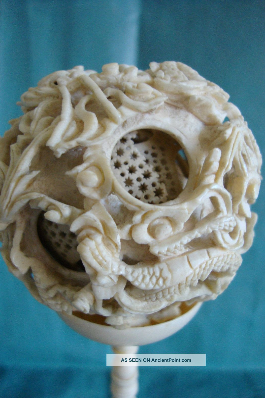 Chinese Cantonese Carved Bone Faux Ivory Puzzle Ball Stand 19c Circa 1860